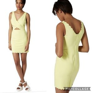Topshop Yellow Scalloped Cut Out Edgy Mini Dress